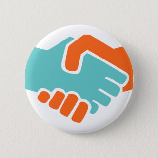 Handshake together 6 cm round badge