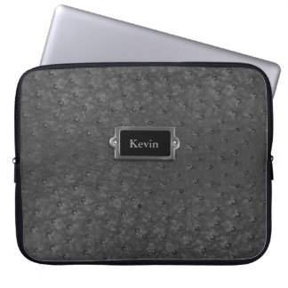 Handsome Black Faux Ostrich Skin Leather Laptop Sleeve