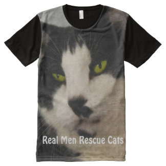 Handsome Black & White Cat Rescue Art All-Over Print T-Shirt