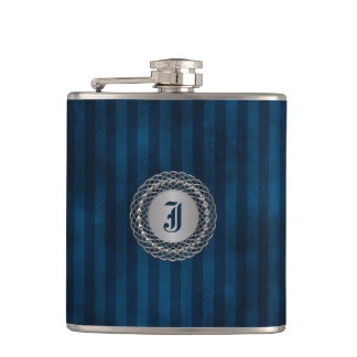 Handsome Blue Striped Custom Monogram Flask