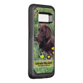 Handsome Chocolate Labrador in Flower Patch OtterBox Commuter Samsung Galaxy S8 Case