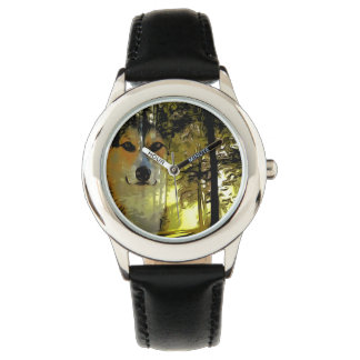 Handsome Corgi in the Woods Wrist Watch