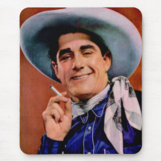 handsome cowboy with cigarette mouse pad