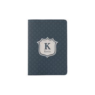 Handsome Dark Navy Blue Pattern Men's Monogram Passport Holder
