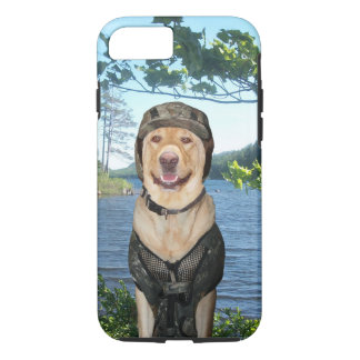 Handsome, happy Lab in camo on beautiful lake. iPhone 7 Case