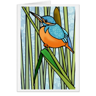 Handsome Kingfisher in the Reeds Card