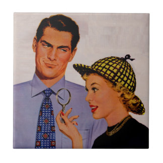 handsome man and wife Mrs. Arlene Sherlock Holmes Small Square Tile