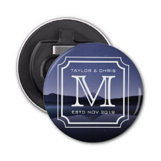 Handsome Monogram Beautiful Landscape Photo Simple Bottle Opener