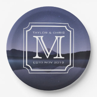 Handsome Monogram Beautiful Landscape Photo Simple Paper Plate