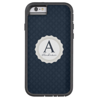 Handsome Navy Blue Masculine Personal Monogram Tough Xtreme iPhone 6 Case