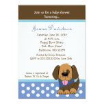 Handsome Puppy Dog Baby Boy Shower 5x7 Personalized Announcement