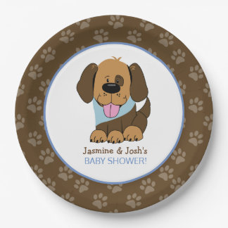 Handsome Puppy Dog Baby Shower Custom Party Plates