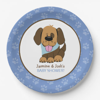 Handsome Puppy Dog Blue Paw Print Party Plates