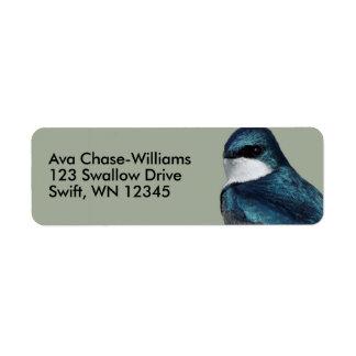 Handsome Tree Swallow: Bird on a Wire Return Address Label
