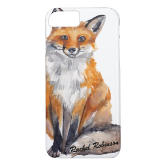 Handsome Watercolor Fox - Personalized with Name iPhone 7 Case