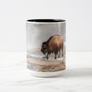 Handsome Young Bison or Buffalo Two-Tone Coffee Mug
