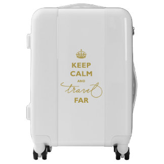 Handwrite Gold Keep Calm And Travel Far Luggage