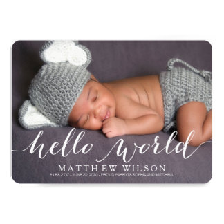 Handwriting Baby Birth Announcement Photo Card