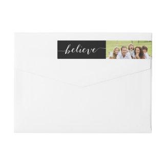 Handwriting Believe | Holiday Photo Return Address Wraparound Return Address Label
