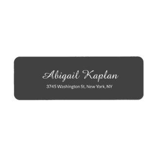 Handwriting Minimalist Professional Grey Classical Return Address Label
