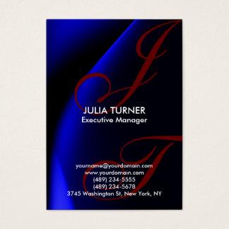 Handwriting Monogram Blue Unique Professional Business Card