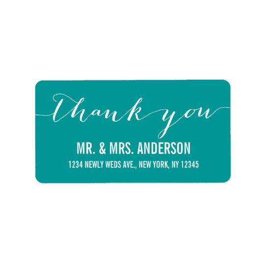 Handwriting Script Wedding Thank You Label