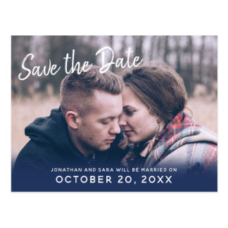 Handwritten Brush | Photo Blue Save The Date Postcard