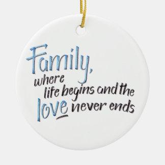 Handwritten Family Quote Ceramic Ornament