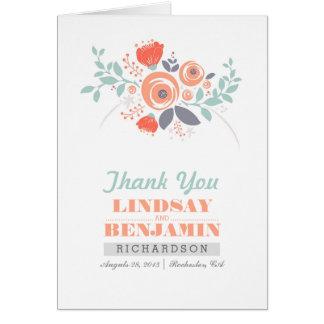 Handwritten flower bouquet wedding thank you note card