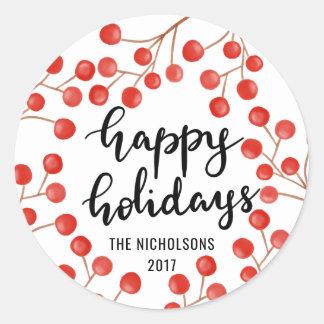 Handwritten Happy Holidays Script Red Berries Classic Round Sticker