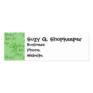 Handwritten Happy St Patrick's Day Shamrock Clover Business Cards