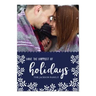 Handwritten Holly Holiday Photo Card   Navy
