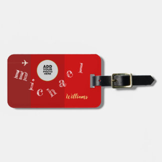handwritten letters of your name & photo on red luggage tag