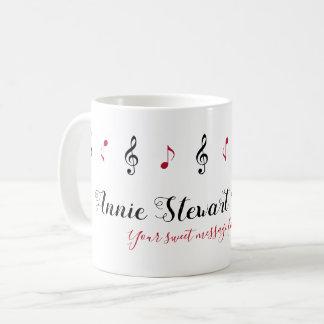 handwritten name + music notes + custom message coffee mug
