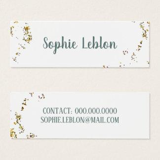 handwritten name & splattered dots elegant white mini business card