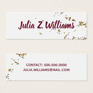 handwritten name + splattered glitter elegant mini business card