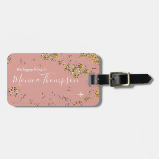 handwritten name + splattered gold dots old-pink luggage tag
