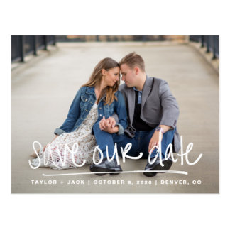 Handwritten Save Our Date Postcard