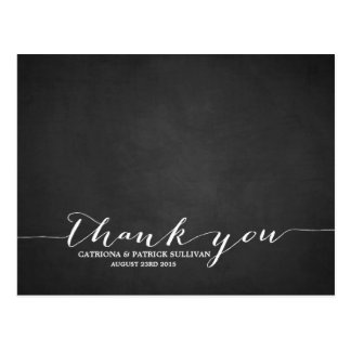 Handwritten Script Chalkboard Thank You Postcard