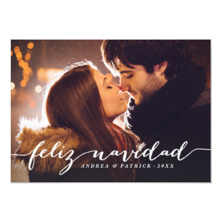 Handwritten Script Feliz Navidad Photo Card