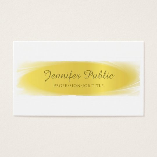 Handwritten Script Gold White Design Trendy Business Card
