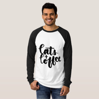 Handwritten Script I love Cats and Coffee Mens Tee