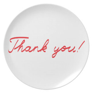 handwritten Thank You note Party Plate
