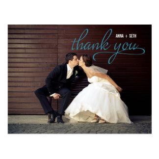 HANDWRITTEN Thank You Postcard - Blue