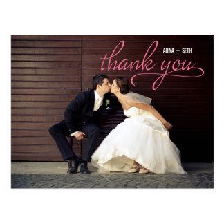 HANDWRITTEN Thank You Postcard - Pink
