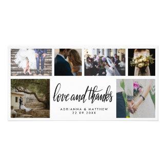 Handwritten Wedding Love & Thanks Script Six Photo Card