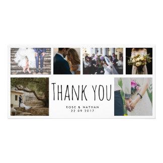 Handwritten Wedding Thank You Six Photo Collage Card