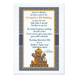 """Handy Bear Birthday Party Invitation 5"""" X 7"""" Invitation Card"""