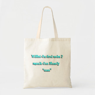 handy from turquoise canvas bag