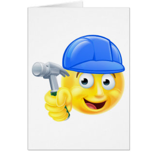 Handy Man Carpenter Builder Emoji Emoticon Card